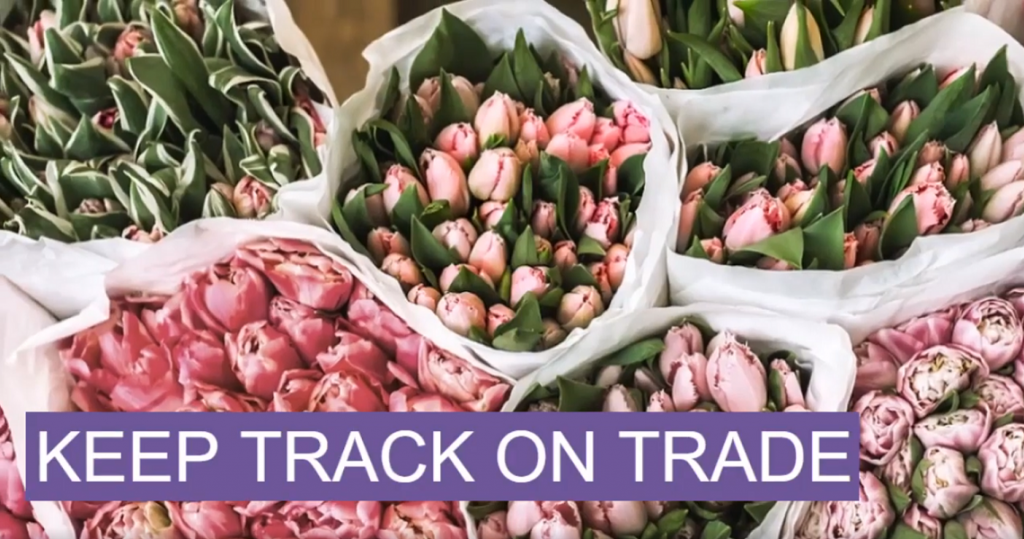 Picture of flowers with banner of text saying Keep track of trade