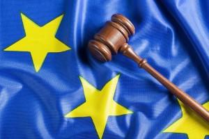 Judge's gavel on European Union flag.